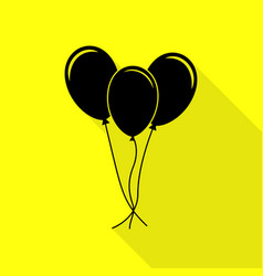 Balloons set sign black icon with flat style vector