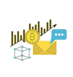 Bitcoin statistics bars growing and mail envelope vector