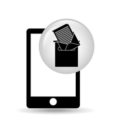 black smartphone device receiving email vector image vector image