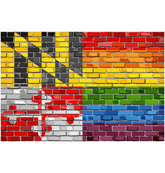 Brick wall maryland and gay flags vector