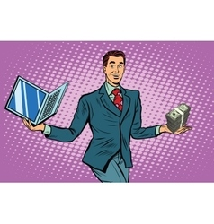 Businessman selling laptops vector
