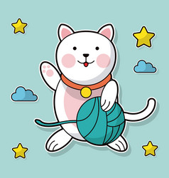Cat holding yarn ball cloud star background vector