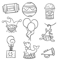 Collection stock of various object circus doodles vector