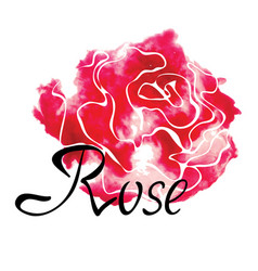 colorful logo with watercolor rose vector image
