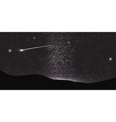 Comet fly around the planet in space vector