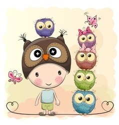 Cute Cartoon Boy Owls vector image vector image