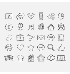 Doodle mobile apps icons set vector image vector image