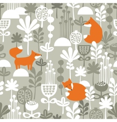 Fox in winter forest seamless pattern vector image vector image