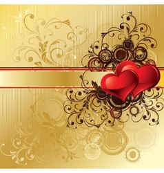Gold valentines background vector image