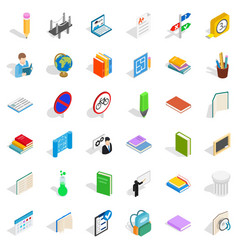 Good student icons set isometric style vector
