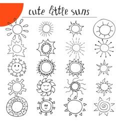 Hand drawn cute little suns Doodle set vector image