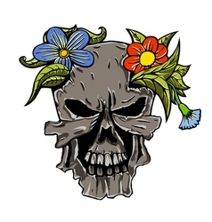 Human skull and flowers vector