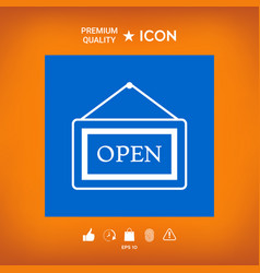 Information plate with open sign board hanging vector