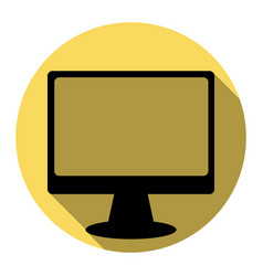 monitor with brush sign flat black icon vector image vector image