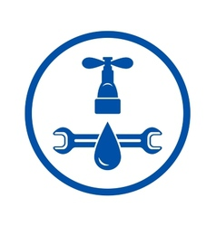 round icon of plumbing service vector image