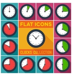 Set of clocks with 10 minutes interval vector image