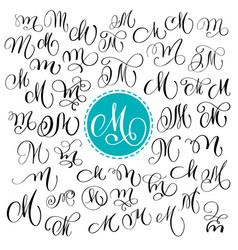 set of hand drawn calligraphy letter m vector image vector image