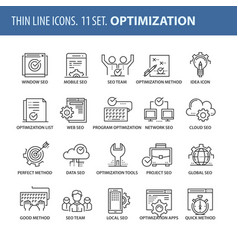 set of thin line flat icons optimization vector image