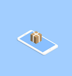 Smartphone and a box delivery e-commerce vector