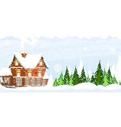 Snow covered farmhouse vector