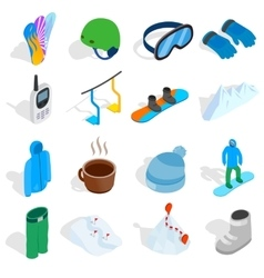 Snowboard icons set isometric 3d style vector image vector image