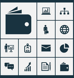 Trade icons set collection of diagram billfold vector