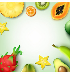 Tropical fruits background vector