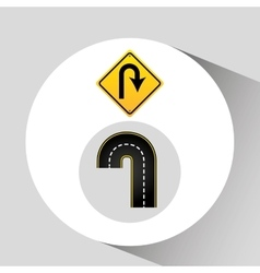 u-turn road sign concept graphic vector image vector image