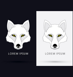 white wolf fox head face vector image vector image