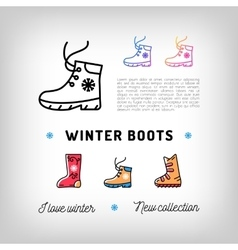 Winter boots thin line icons sport shoes ugg vector