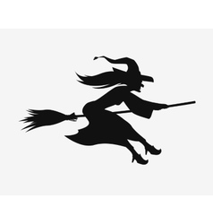Witch on a broomstick black silhouette halloween vector
