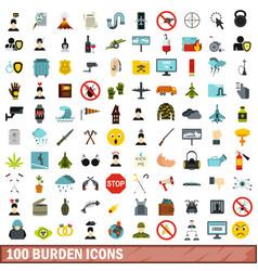 100 burden icons set flat style vector