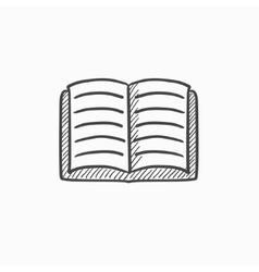 Open book sketch icon vector