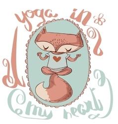 Cute fox enjoys the yoga vector
