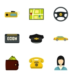 Taxi custom icons set flat style vector