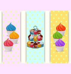 Cupcakes stand and cupcakes banners vector