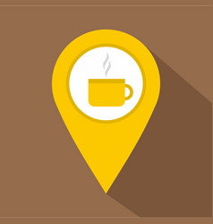 yellow map geo tag with tea or coffee cup icon vector image