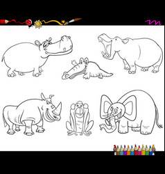 Animal characters coloring page vector