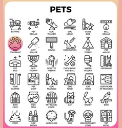 Pets concept detailed line icons vector