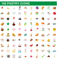 100 pastry icons set cartoon style vector