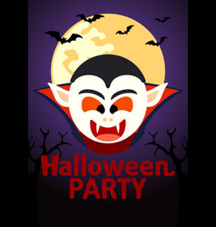 Halloween party banner with dracula vector