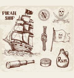 vintage pirate ship vector image