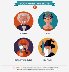 Bookstore subjects flat icons and characters vector