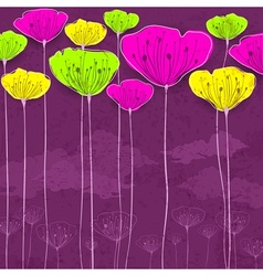 Stylized flower card vector