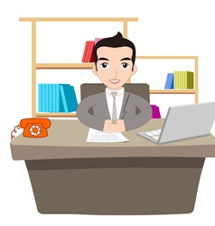 Businessman working at office with laptop vector