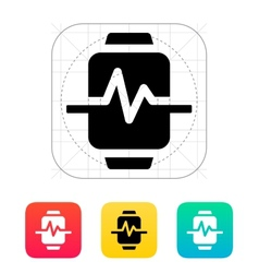 Pulse on smart watch icon vector