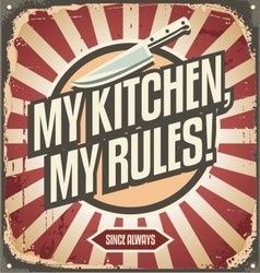 Vintage kitchen sign with promotional message vector image