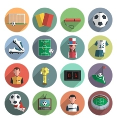 Soccer icons set flat vector