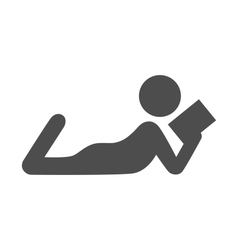 Read book man flat icon pictogram isolated on vector