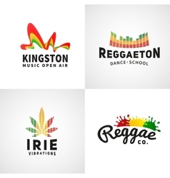 Set of positive ephiopia flag logo jamaica vector